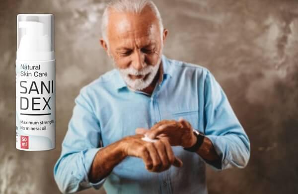 skin care sanidex cream, man, hands